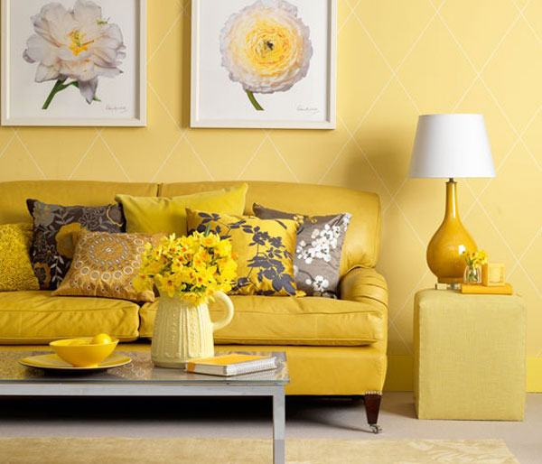 Жълто боядисана всекидневна