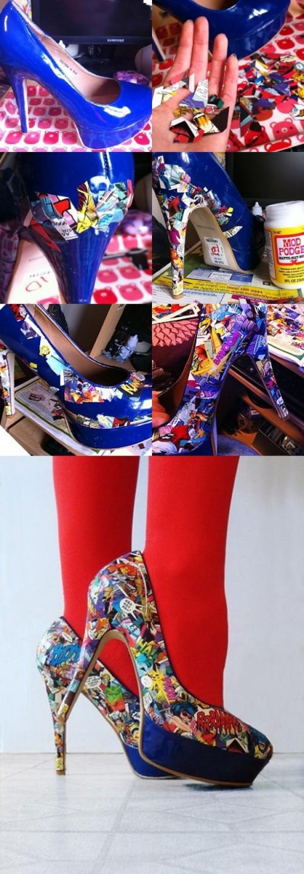 Обувки на висок ток с парченца от списание