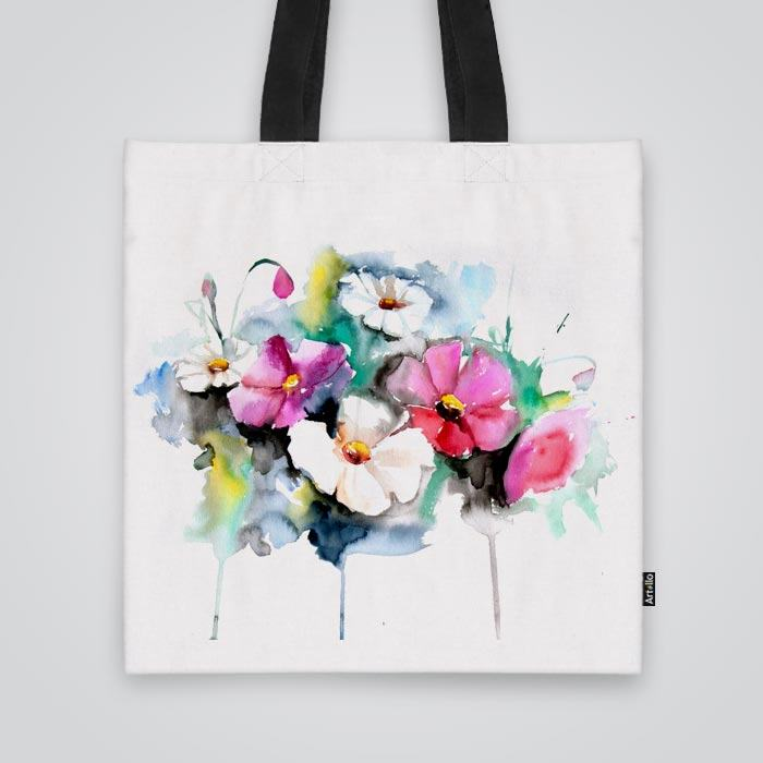 Tote Bag With Beautiful Flowers