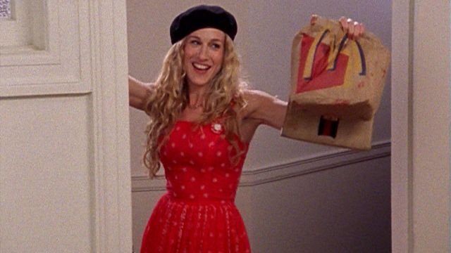 "Резултат с изображение за ""carrie bradshaw red dress"""